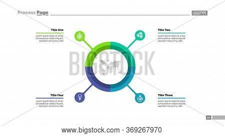 Pie Chart With Four Elements. Infographic Circle, Option Diagram, Layout. Creative Concept For Infog