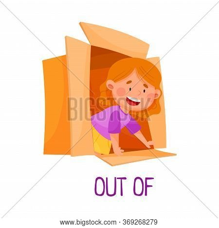 Little Red Haired Girl Creeping Out Of Carton Box As Preposition Of Movement Vector Illustration