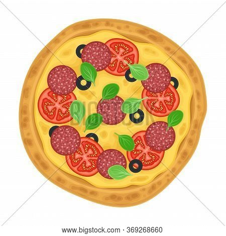 Hot Pizza With Salami And Vegetables Top View Vector Illustration