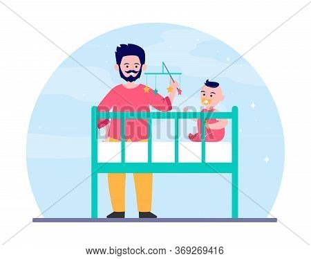 New Dad Playing With Baby In Crib. Rattle Toy, Soothing Child For Sleeping Flat Vector Illustration.