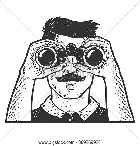 Man Looking Through Binoculars Sketch Engraving Vector Illustration. T-shirt Apparel Print Design. S