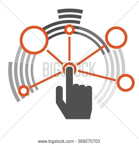 Interaction. The Interaction Icon In The Form Of Circles. Hand Finger Presses The Interaction Button