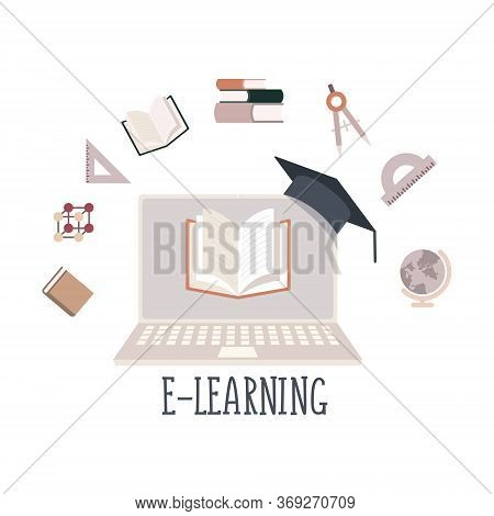 Flat Illustration Of A Laptop And Academic Subjects. The Concept Of Online Education And Training, O