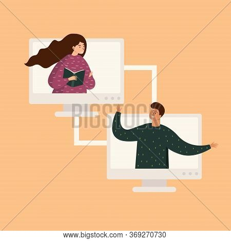 Flat Illustration Of A Video Conference. Workplace, Monitor Screen, Smiling Man And Woman Talking On