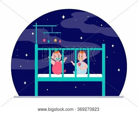 Twin Babies Playing In Crib. Rattle Toy, Boy, Girl, Night Flat Vector Illustration. Childhood, Child