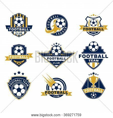 Football Team Or Club Flat Labels Set. Soccer Ball Badges, Circle League Logo, Championship Stickers