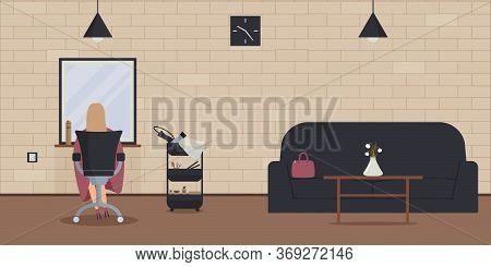 Interior Of Beauty Salon In Loft Style.woman Sit In Chair And Wait For Barber In Cozy Barbershop Wit