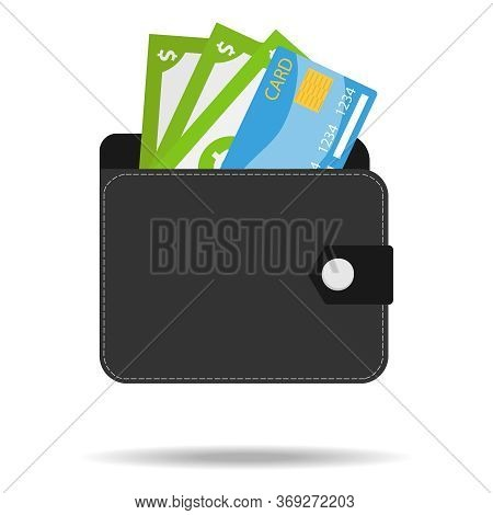 Wallet With Money And A Credit Card. Black Men's Wallet With Money Isolated On A White Background Wi