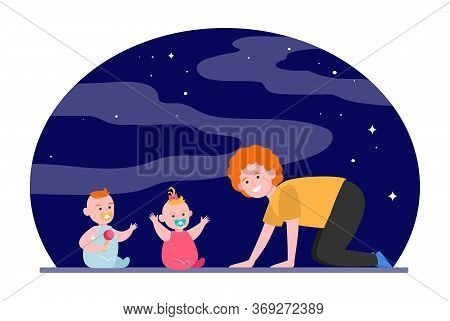 Cheerful Mom Playing With Twin Babies. Toys, Babysitting, Baby Care Flat Vector Illustration. Childh