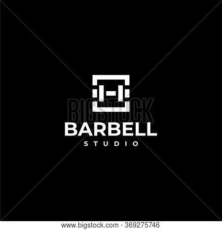 Bold Logo Design Of Barbell On Black Background Colours - Eps10 - Vector.