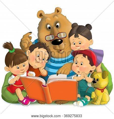 Children's Illustration. Friends Are Reading An Interesting Book. Big Bear And Little Children.