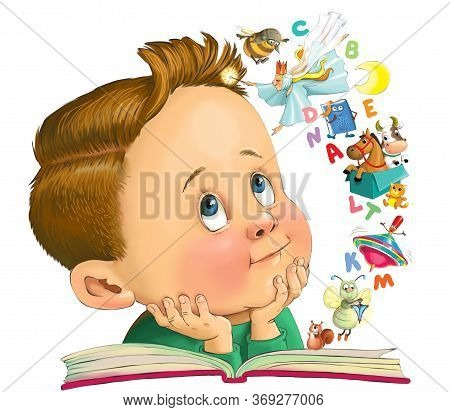 Illustration. A Funny Cartoon Of A Little Boy Is Reading A Book. From The Pages Jumped Letters And F