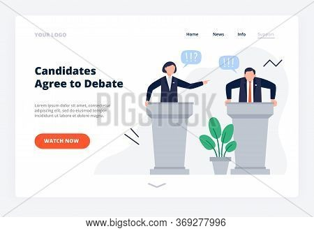 Man And Woman Candidates Stand On Tribunes. Debates Concept For Promotion And Active Political Discu