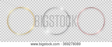 Round Shiny Frames With Glowing Effects. Set Of Three Gold, Silver And Rose Gold Round Frames With S