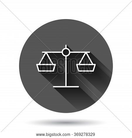 Scale Balance Icon In Flat Style. Justice Vector Illustration On Black Round Background With Long Sh