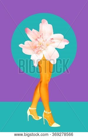 Flower Bud And Womens Beautiful Legs In Acid Color Tights And High Heels Shoes On A Colorful Backgro