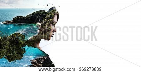 Double Multiple Exposure Digitally Generated Photography. Portrait Side Profile View Face Of Woman C