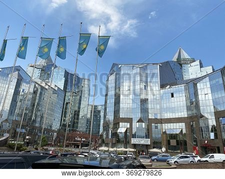 Almaty, Kazakhstan - June 1, 2020: View Of Business Center Nurly Tau. Made In The Style Of Hi-tech,