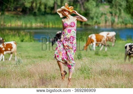 Woman on the background of cows