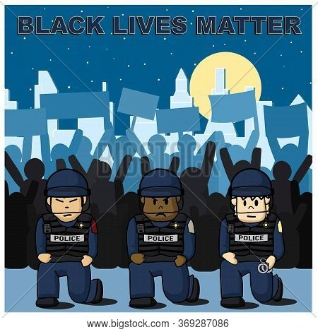 Police Is Kneeling With Protestors In The Background For Black Lives Matter Rally In America Cities