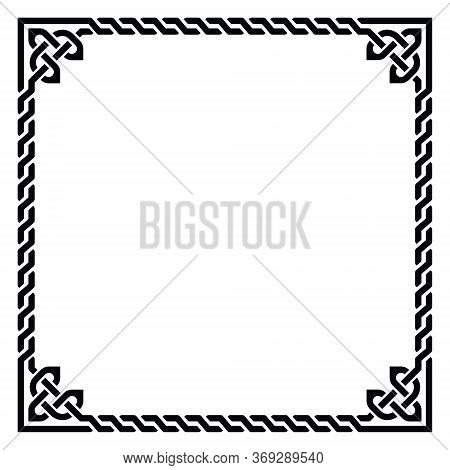 Irish Celtic Vector Square Frame Design - Traditional Greeting Card And Invititon Pattern