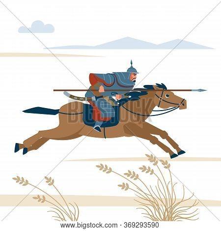 Mongol Rider. Medieval Battle Historical Illustration. Vector Flat Isolated Illustration