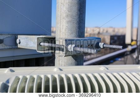 Russia, Saint-petersburg - April 30, 2018: Mounting Of Outdoor Remote Radio Unit Rru And Cables Of B