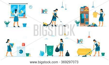Vector Flat Collection Of Home Cleaning. Woman Washes Floor And Window, Organizes, Vacuums, Cleans,