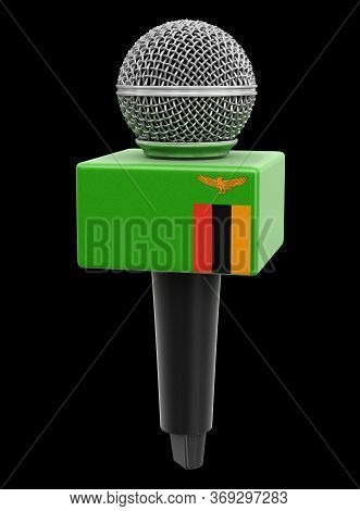 3d Illustration. Microphone And Zambia Flag. Image With Clipping Path
