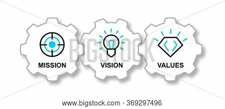 Simple Visualization For Mission, Vision And Values Diagram Schema Vector Drawn Icons. Easy To Use F