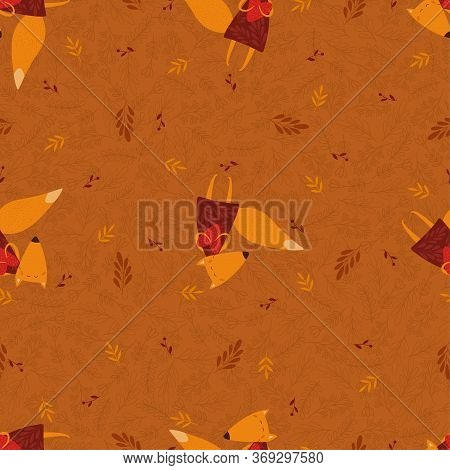 Vector Seamless Foxes Pattern With Floral Elements.illustration With Cute Cartoon Foxes,hearts, Leav