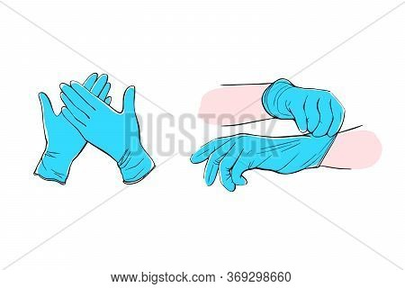 Medical Protective Gloves Isolated On A White Background.latex Surgical Gloves. Hand-drawn Vector Il