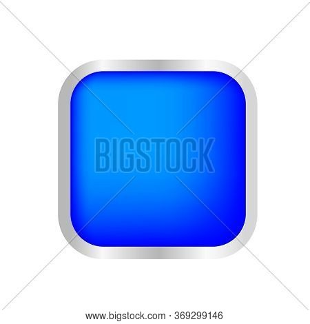 Button Square Shape Blue For Buttons Games Play Isolated On White, Blue Modern Buttons Convex, Squar