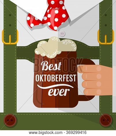 Best Oktoberfest Ever, Oktoberfest Man With Beer Mug Congratulation. Postcard Flat Design.