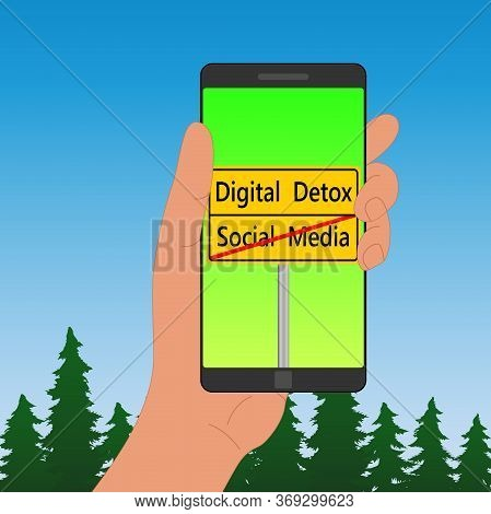 Yellow Road Sign On The Smartphone Screen For People Who Want To Spend Time Away From Technology. No