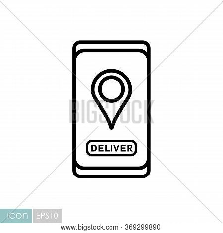 Fast Food Delivery Service Vector Icon. Pin Map Symbol. Mobile App Order Food Online Website.