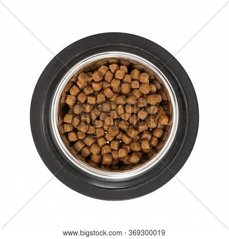 Metal Bowl With Dry Food For Cats Or Dogs Isolated On White Background. Top View.