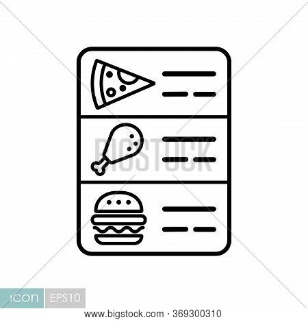 Online Food Menu Vector Icon. Delivery Sign. Graph Symbol For Cooking Web Site And Apps Design, Logo