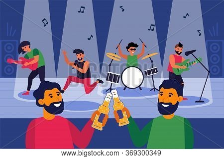 Male Friends Drinking Beer In Nightclub. Bearded Men Toasting Bottles At Live Concert Flat Vector Il