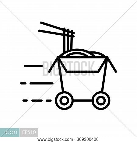 Wheeled Wok Box Vector Icon. Delivery Sign. Graph Symbol For Cooking Web Site And Apps Design, Logo,