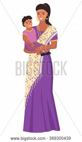 Smiling Indian Woman Wearing Jewelry And Sari Holding Little Girl. Mother Hugging Daughter, Female I