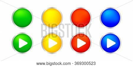 Button Circle 3d Shape For Buttons Games Play Isolated On White, Colorful Modern Buttons Simple And