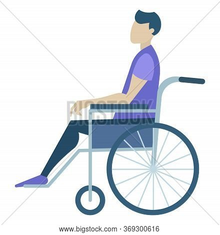 Handicapped Person Character Sitting In Wheelchair. Man Paralysis In Chair With Wheels. Side View Of