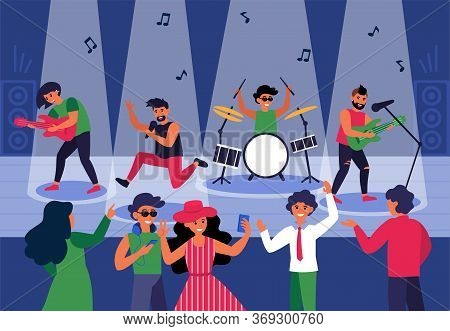 People Dancing To Live Music In Nightclub. Young Friends Taking Selfie At Rock Concert Flat Vector I