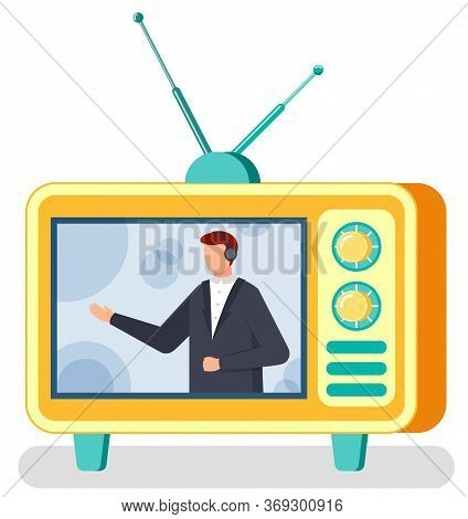 Tv Show Host, Journalist Or News Reader With Headset, Correspondent On Screen Vector. Male Character