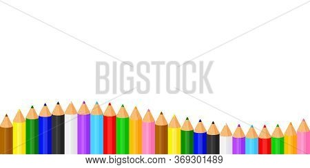 Colorful Pencils Crayon Pastel Cute In A Row On White Copy Space, Collection Colored Pencils Rows Fo