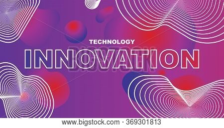 Phrase Technology Innovation On Purple Background With Lines And Gradient Geometric Shapes, Vector I