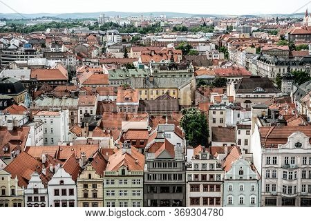 View Of Pilsen Cityscape, Rooftop View. Czech Republic