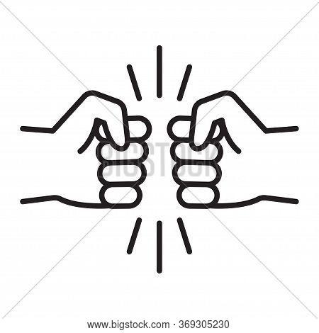 Fist Bump Line Icon. Bro Gesture, Friendship Sign. Vector Illustration On White Background