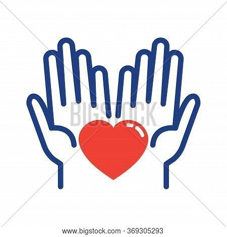 Helping Hand With Heart Shape. Global Day Of Charitable Giving. Giving Tuesday. Vector Illustration.